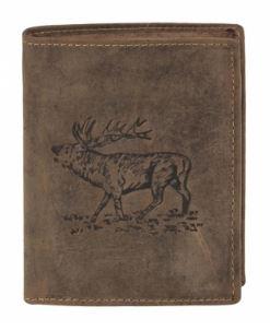 Odinė piniginė su elnio dekoracija